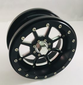 8 spoke re-machined black anodized with optional Motoworx Racing center nut.